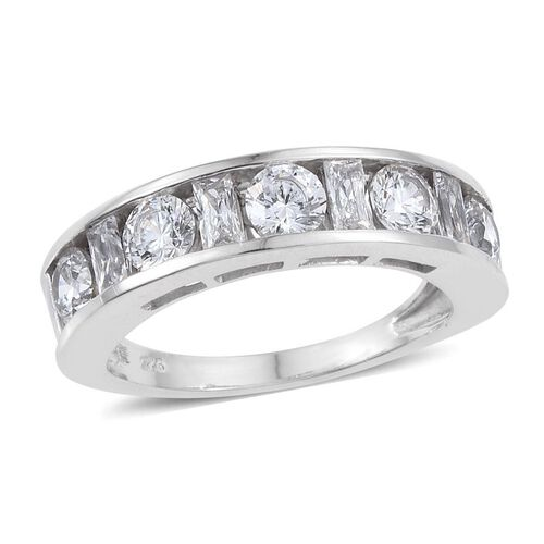 J Francis - Platinum Overlay Sterling Silver (Rnd) Half Eternity Band Ring Made with SWAROVSKI ZIRCONIA