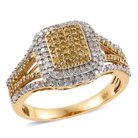 Yellow Diamond (Rnd), White Diamond Ring in 14K Gold Overlay Sterling Silver 1.000 Ct.