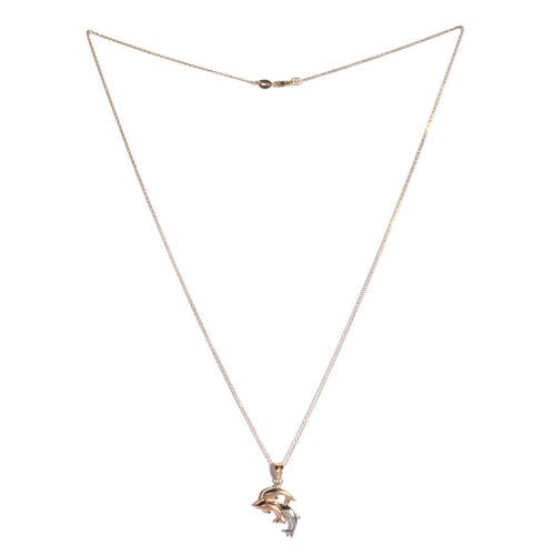 JCK Vegas Collection 9K Yellow, White and Rose Gold Dolphin Pendant With Chain
