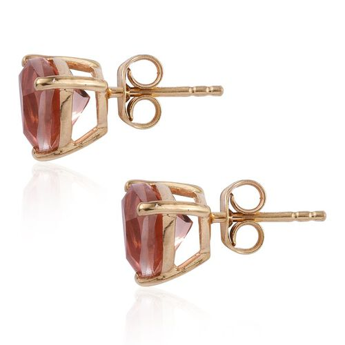 Morganite Colour Quartz (Trl) Stud Earrings (with Push Back) in 14K Gold Overlay Sterling Silver 3.750 Ct.