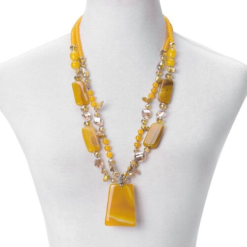 Yellow Agate, Simulated Yellow Sapphire, Yellow Glass Pearl and Simulated Citrine Dual Strand Beads Necklace (Size 29) in Silver Tone 700.00 Ct.