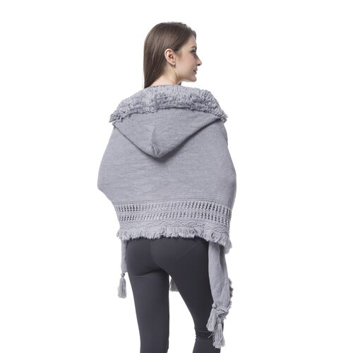 Grey Colour Knitted Hoodie Kimono with Tassels (Size 190X60 Cm)