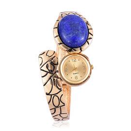 Lapis Lazuli Bangle Watch in Yellow Gold Tone 30.000 Ct.