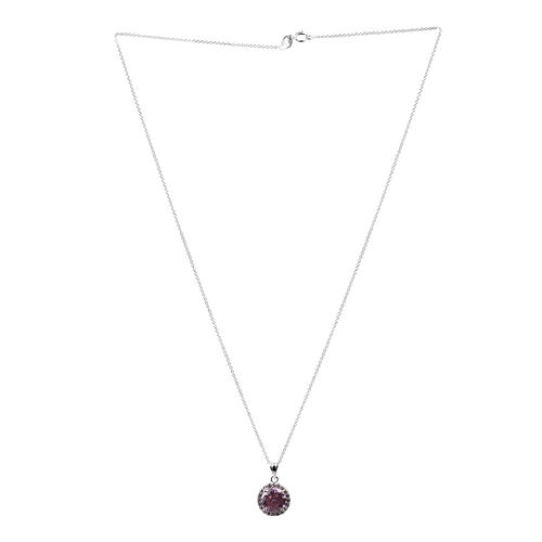 Close Out Deal ELANZA AAA Simulated Pink Sapphire (Rnd) Pendant With Chain in Rhodium Plated Sterling Silver