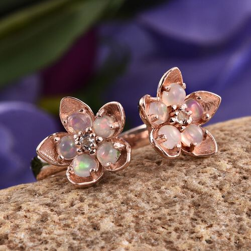 AA Ethiopian Welo Opal (Rnd), White Topaz Twin Floral Ring in Rose Gold Overlay Sterling Silver 1.000 Ct.