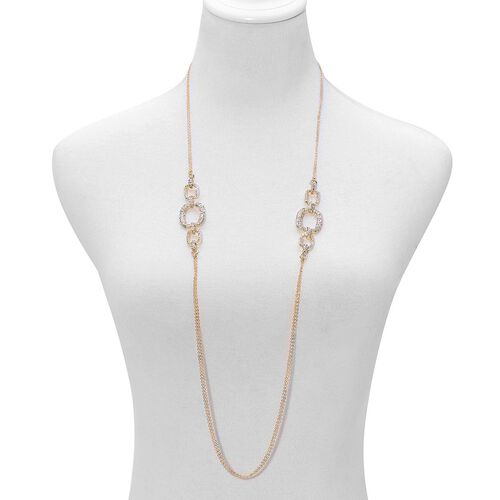 AAA White Austrian Crystal Necklace (Size 38), Bracelet (Size 7.5) and Earrings in Gold Tone