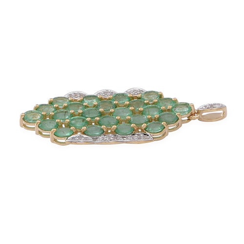 9K Y Gold Kagem Zambian Emerald (Ovl), Natural Cambodian White Zircon Pendant 3.750 Ct.