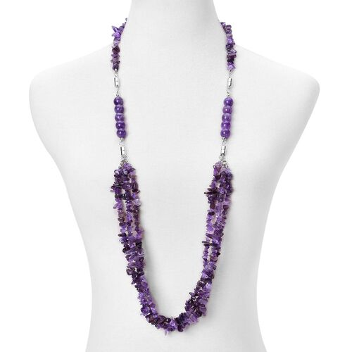 Amethyst Beads Multi Functional Necklace (Size 18) with Magnetic Clasp Lock in Silver Tone 745.000 Ct.
