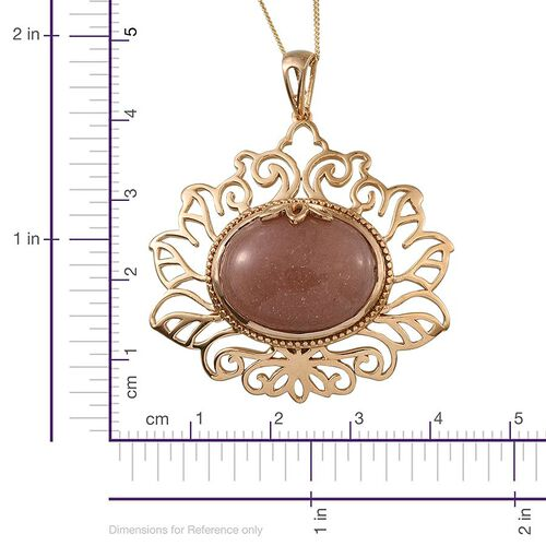Morogoro Peach Sunstone (Ovl) Pendant With Chain in 14K Gold Overlay Sterling Silver 16.000 Ct.