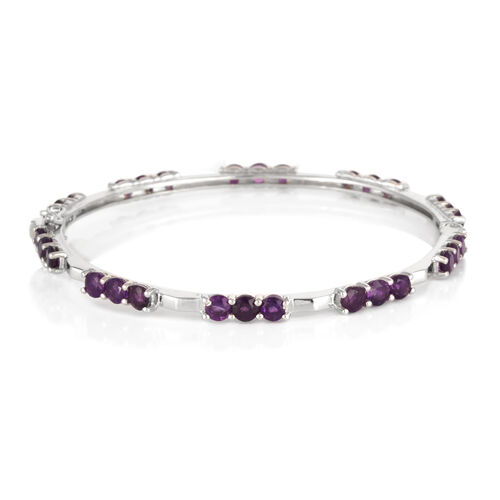 Uruguay Amethyst (Rnd) Bangle (Size 7.5) in Platinum Overlay Sterling Silver 7.500 Ct.