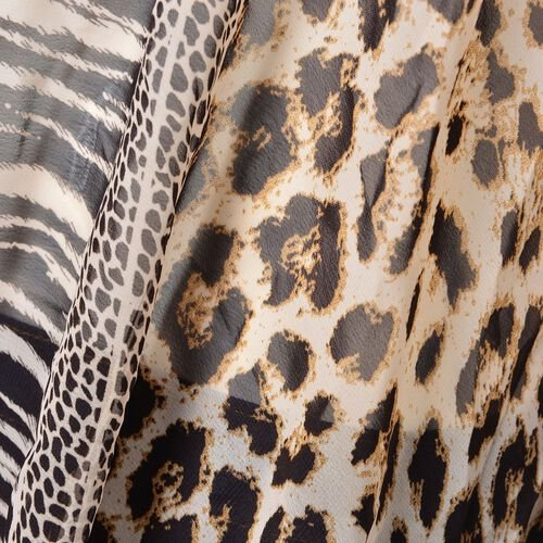 Chocolate and Black Colour Leopard, Snake and Zebra Pattern Poncho (Free Size)