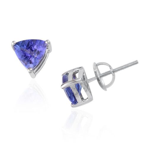 RHAPSODY 950 Platinum AAAA Tanzanite (Trl) Stud Earrings (with Screw Back) 2.000 Ct.