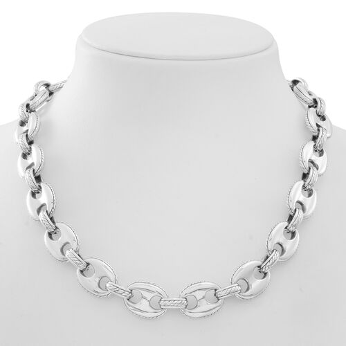 Statement Collection  Sterling Silver Anchor  Link Necklace (Size 20), Silver wt 58.50 Gms.