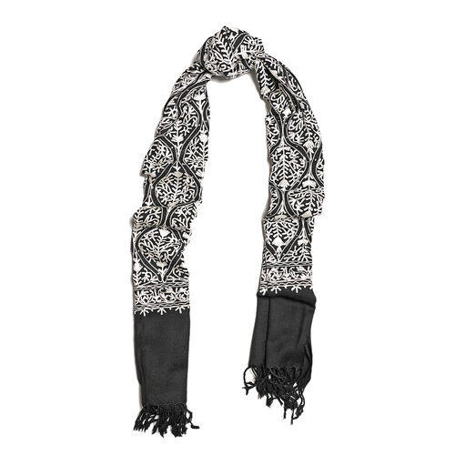 100% Merino Wool Black and White Colour Embroidered Scarf (Size 190x70 Cm)