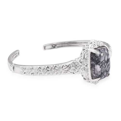 Austrian Pinolith (Cush) Bangle (Size 7.25) in ION Plated Platinum Bond 21.750 Ct.