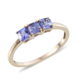 9K Yellow Gold Asscher Cut Tanzanite (Oct) Trilogy Ring 1.250 Ct.