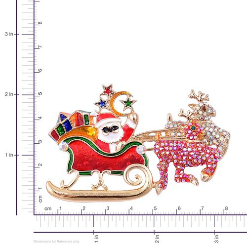 AAA Multi Colour Austrian Crystal and Multi Colour Enameled Santa  Brooch in Yellow Gold Tone