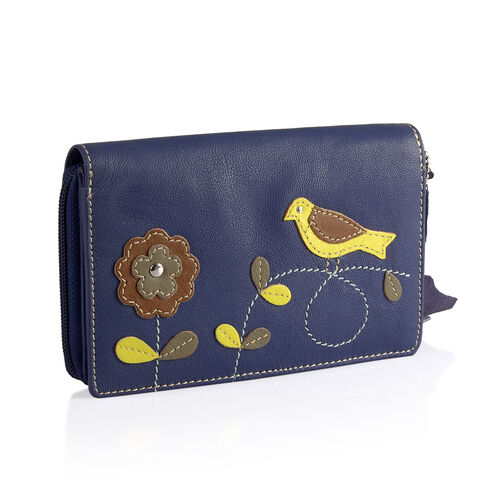 Designer Inspired - 100% Genuine Leather RFID Blocker Flower and Bird Pattern Navy Colour Wallet with Multiple Cards Slots (Size 16X10.5X3 Cm)