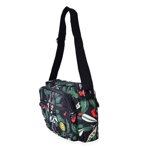Black and Multi Colour Leaves Pattern Waterproof Sport Bag with External Zipper Pocket and Adjustable Shoulder Strap (Size 27x20x6 Cm)