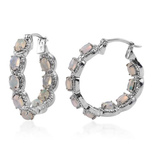 Ethiopian Welo Opal (Ovl), Diamond Hoop Earrings (with Clasp) in Platinum Overlay Sterling Silver 2.780 Ct.