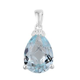 J Francis Crystal from Swarovski - Light Azore Crystal (Pear) Solitaire Pendant in Sterling Silver