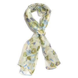 100% Mulberry Silk Green, Off White and Multi Colour Abstract Hand Screen Printed Scarf (Size 180X50 Cm)