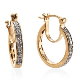 Diamond (Rnd) Hoop Earrings (with Clasp) in 14K Gold Overlay Sterling Silver 0.250 Ct.