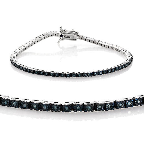 GP Blue Diamond (Rnd) Kanchanaburi Blue Sapphire Tennis Bracelet (Size 7.5) in Platinum Overlay Sterling Silver 0.360 Ct.