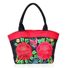SHANGHAI COLLECTION Floral and Butterfly Embroidered Tote Bag with External Zipper Pocket (Size 50X30X15 Cm)