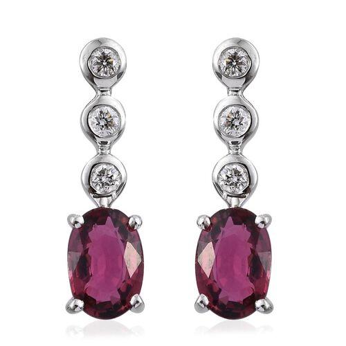 ILIANA 18K White Gold Pink Tourmaline (Ovl), Diamond Drop Earrings (with Screw Back) 1.000 Ct.