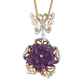 Very Limited Available- Hand Carved Amethyst Flower Pendant with Chain in Rhodium and Gold Overlay Sterling Silver 6.750 Ct. Silver wt 6.65 Gms.