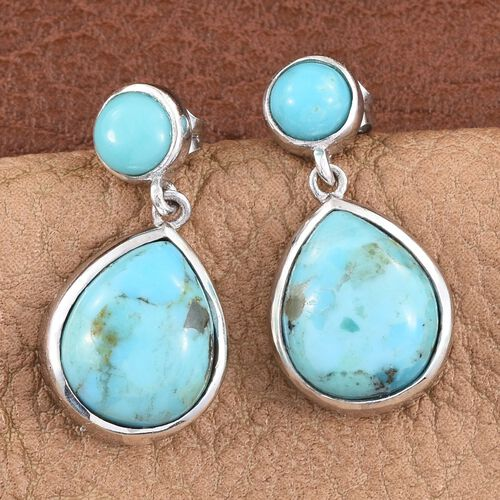 Arizona Matrix Turquoise (Pear), Sonoran Turquoise Earrings (with Push Back) in Platinum Overlay Sterling Silver 7.500 Ct.