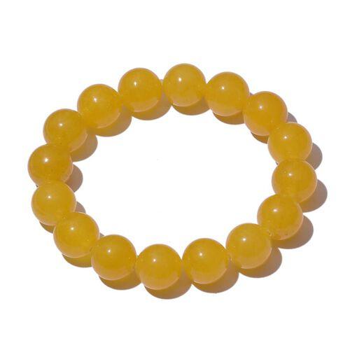 Yellow Quartzite Stretchable Ball Beads Bracelet (Size 7.5) 160.000 Ct.