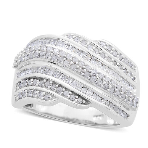 Diamond (Rnd) (I4/H-H) Ring in Platinum Overlay Sterling Silver 1.000 Ct.