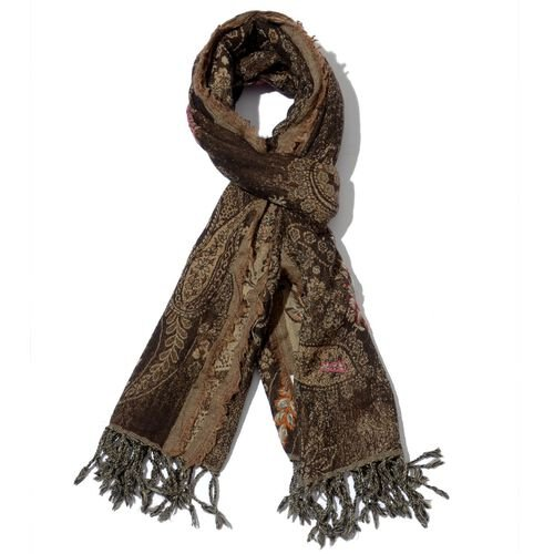 Designer Inspired 100% Wool Floral and Paisley Embroidered Chocolate Colour Scarf with Tassels (Size 70x180 Cm)