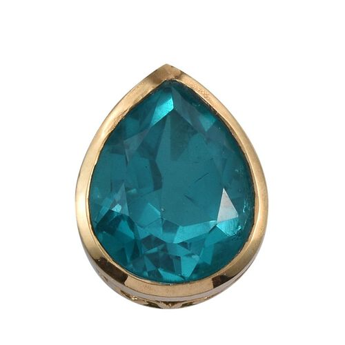 Capri Blue Quartz (Pear) Solitaire Pendant in 14K Gold Overlay Sterling Silver 5.750 Ct.
