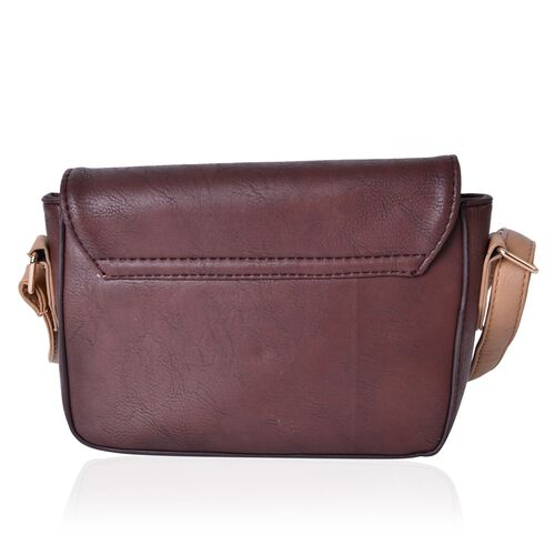 Chocolate and Dark Beige Colour Fancy Bow Crossbody Bag With Adjustable Shoulder Strap (Size 20x15x7 Cm)