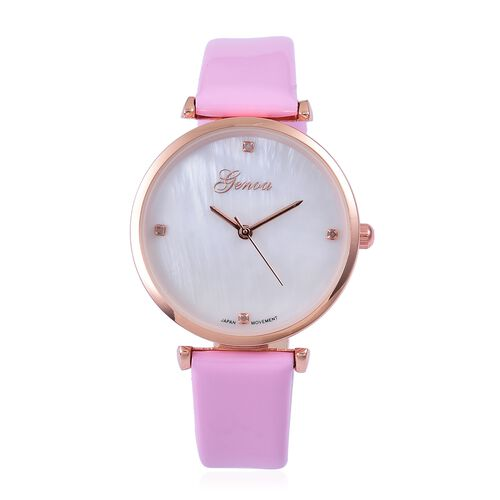 GENOA Diamond Studded MOP Dial Watch with Pink Colour Strap