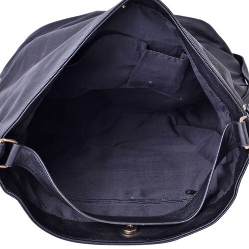 Designer Inspired Black Colour Hobo Bag with External Zipper Pocket (Size 36x30x16.5 Cm)