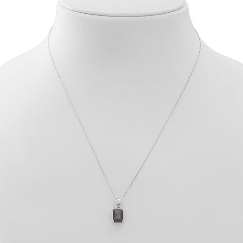 Natural Silver Sapphire (Oct) Solitaire Pendant With Chain in Rhodium Plated Sterling Silver 3.500 Ct.