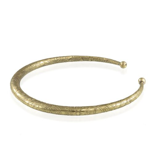 Gold Plated Engraved Brass Choker Necklace