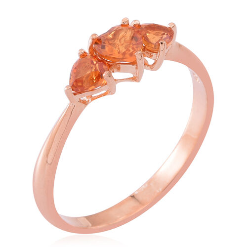 Orange Sapphire (Hrt) 3 Stone Ring in Rose Gold Overlay Sterling Silver 1.000 Ct.
