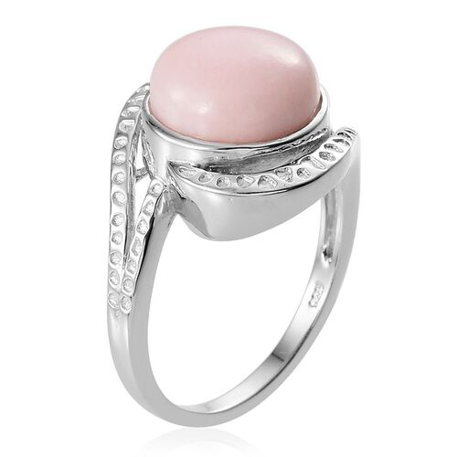 Peruvian Pink Opal (Rnd) Solitaire Ring in Platinum Overlay Sterling Silver 5.250 Ct.