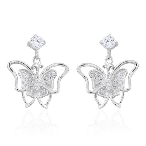 ELANZA AAA Simulated White Diamond (Rnd) Butterfly Earrings (with Push Back) in Rhodium Plated Sterling Silver