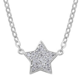 ELANZA AAA Simulated White Diamond (Rnd) Star Necklace (Size 17) in Rhodium Plated Sterling Silver
