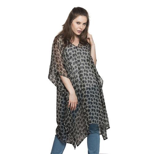 Floral Pattern Black and Grey Colour V-Neck Kaftan (Free Size)
