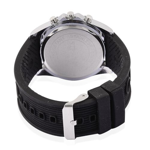 STRADA Japenese Movement Black Colour Analog - Digital Watch in Silver Tone with Black Colour Silicone Strap