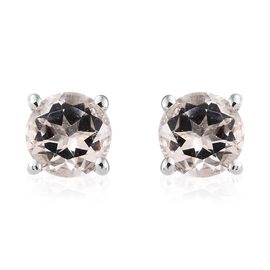 9K White Gold Marropino Morganite (Rnd) Stud Earrings (with Push Back) 1.000 Ct.