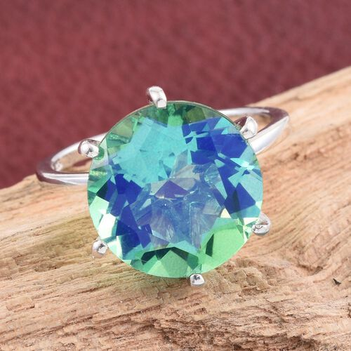 Peacock Quartz (Rnd) Solitaire Ring in Platinum Overlay Sterling Silver 9.000 Ct.