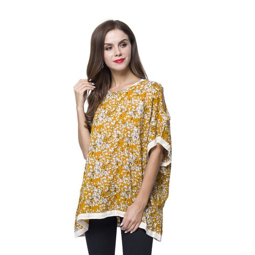 Yellow, White and Multi Colour Flower Pattern Poncho (Size 80X70 Cm)